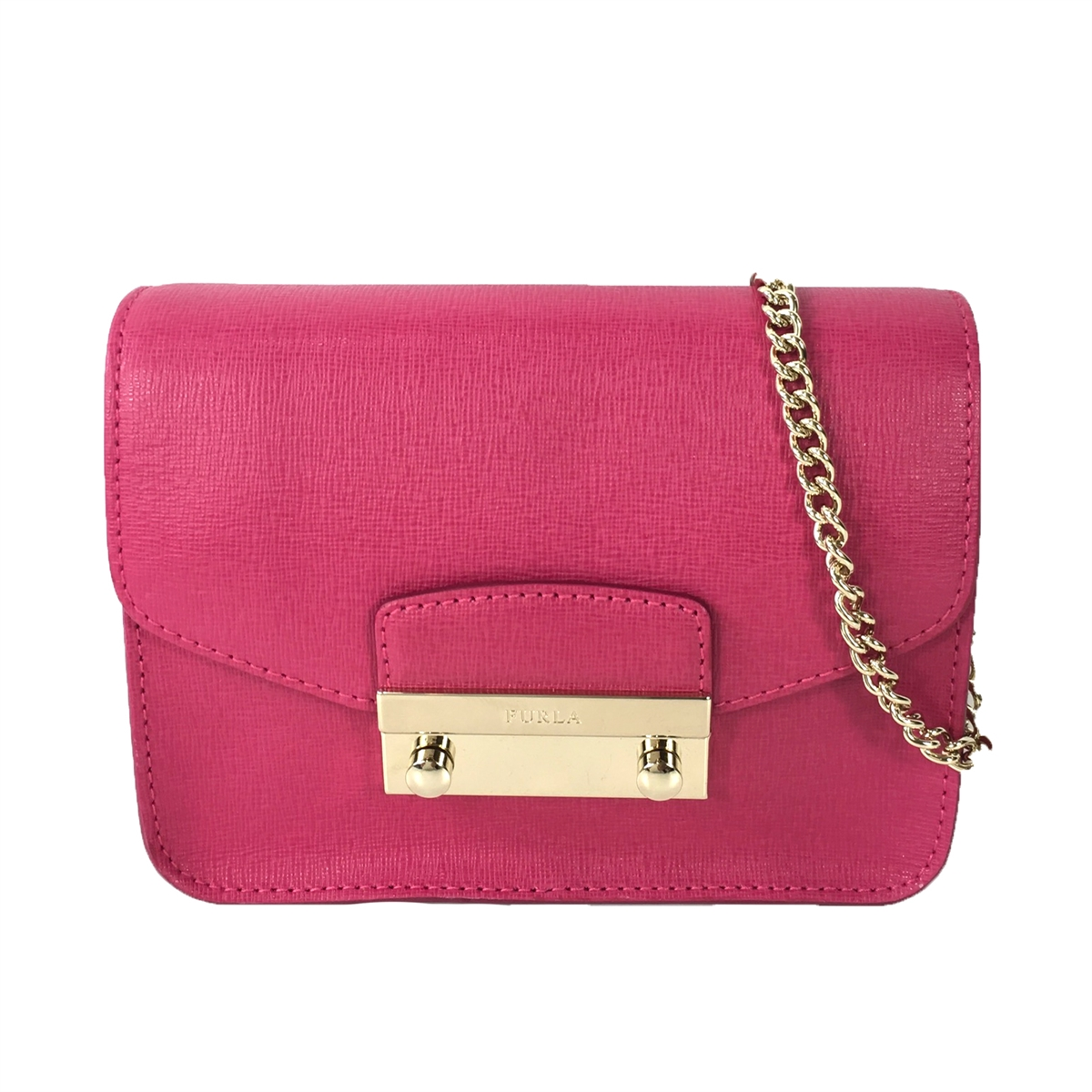 139e44f4e0cdd1 Furla Julia Saffiano Leather Mini Crossbody Bag, Gloss Pink