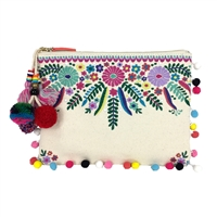 Steven Jyme Colorful Embroidered Pom Pom Clutch