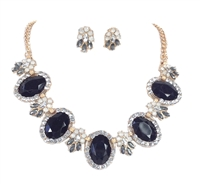 Core Fashion Jeweled Collar Neckalce & Earrings Set,