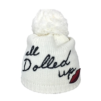 Kate Spade All Dolled Up Pom Pom Knit Beanie Hat