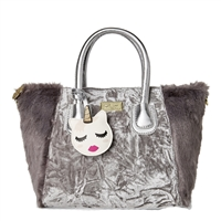 Luv Betsey Johnson Gidget Crushed Velvet Faux Fur Satchel