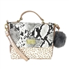 Luv Betsey Johnson Raven Snake Embossed Satchel Crossbody,