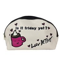 Luv Betsey Johnson is it Friday yet? Large Zip Cosmetic Case