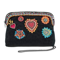 Mary Frances Flaming Hearts Travel Pouch Crossbody Cosmetic Case