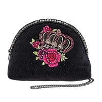 Mary Frances Queen Crown Beaded Crossbody Travel Pouch