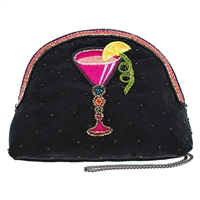 Mary Frances Take a Sip Cosmo Beaded Crossbody Travel Pouch