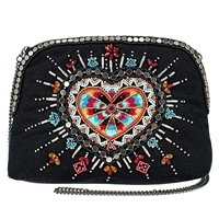 Mary Frances Love Your Tribe Heart Beaded Crossbody Travel Pouch