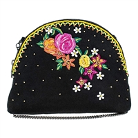 Mary Frances Cuteness Floral Beaded Crossbody Travel Pouch