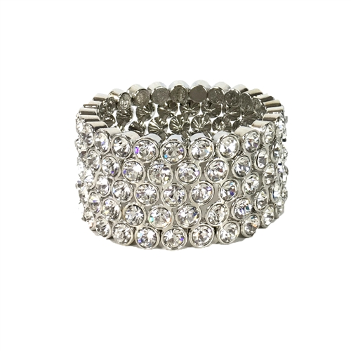 Natasha Bezel Set Crystal Pave Stretch Bracelet