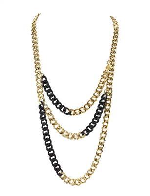Michael Kors Two Tone Curb Link Layered Necklace