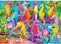 Glow in the Dark Colorful Dance Seahorse 500 Pc Seek & Find Jigsaw Puzzle