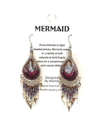 Machu Picchu Mermaid Beaded Small Drop Earrings