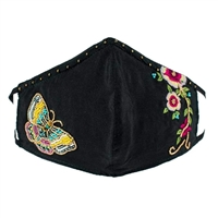 Mary Frances Butterfly Flower Beaded 3D Face Mask