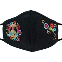 Mary Frances Peace Sign Flowers Beaded Reusable 3D Face Mask