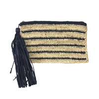 Mar Y Sol Striped Crochet Raffia Tassel Clutch
