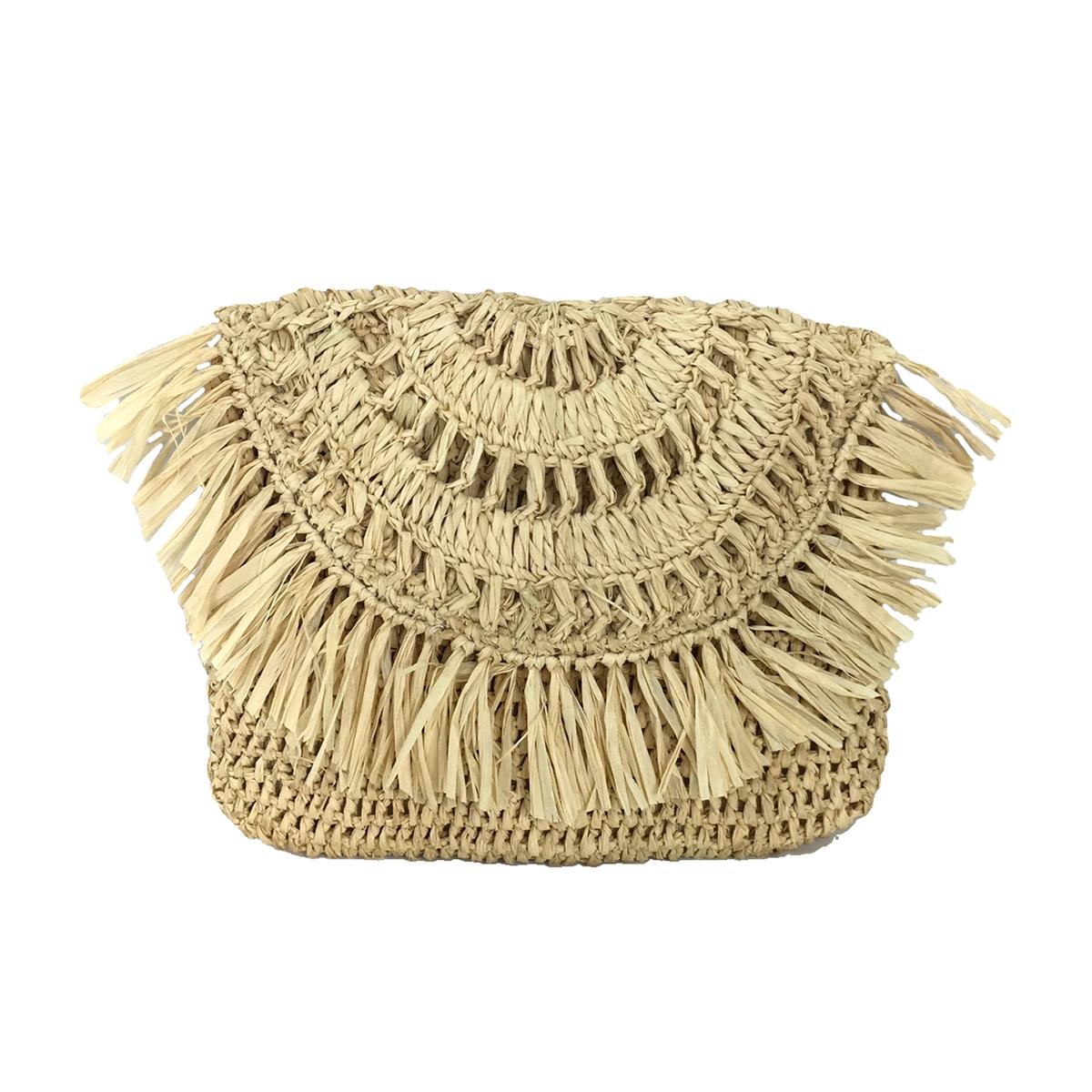 7844821f3 Mar Y Sol Mia Crochet Raffia Fringe Clutch, Natural
