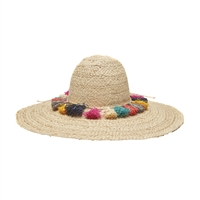 Mar Y Sol Paloma Wide Brim Floppy Sun Hat w Colorful Tassels
