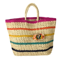Mar Y Sol Catalina Striped Crocheted Sisal Tote Beach Bag