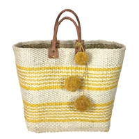 Mar Y Sol Caracas Striped Market Tote Bag Pom Pom