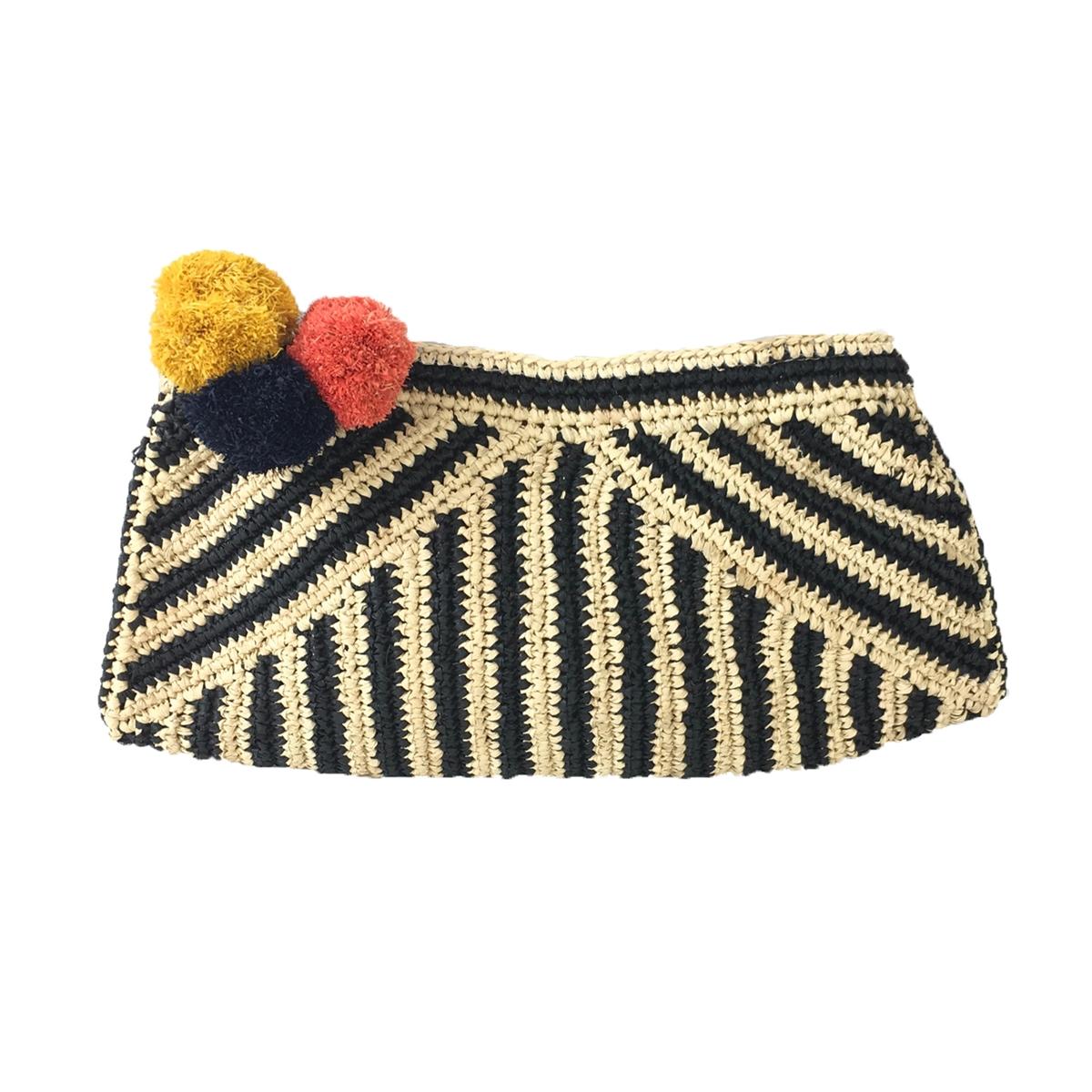 e60c165201ef9 Mar Y Sol Sonia Pom Pom Crochet Raffia Clutch