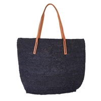 Mar Y Sol Portland Crocheted Raffia Carryall Tote Bag