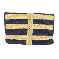 Mar Y Sol Teresa Striped Raffia Straw Clutch