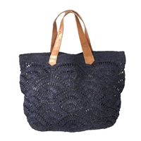 Mar Y Sol Tulum Crocheted Raffia Carryall Tote Bag