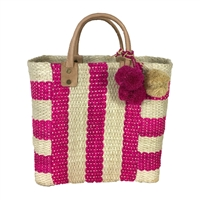 Mar Y Sol Collins Striped Woven Sisal Basket Tote Bag