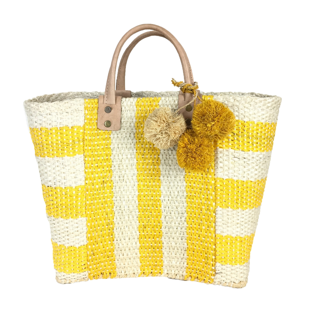 Mar Y Sol Collins Striped Woven Sisal Basket Tote Bag, Sunflower Yellow