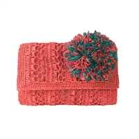 Mar Y Sol Anabel Crochet Raffia Clutch Oversized Pom Applique