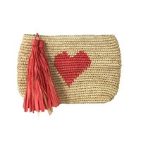 Mar Y Sol Carrie Heart Crochet Raffia Tassel Clutch