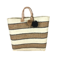 Mar Y Sol Capri Striped Market Tote Straw Beach Bag