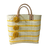 Mar Y Sol Tybee Striped Market Tote Bag Pom Pom