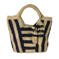 Mar Y Sol Cabana Striped Straw Carryall Tote Bag