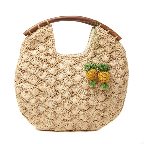 Isla Crochet Raffia Circle Clutch w Pineapple Charm