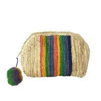 Mar Y Sol Millie Rainbow Stripes Raffia Clutch