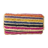 Mar Y Sol Chloe Multicolored Striped Raffia Clutch