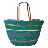 Mar Y Sol Cielo Striped Crocheted Raffia Straw Carryall Tote Bag