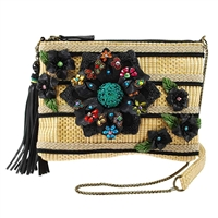 Mary Frances Spring Fever Floral Straw Mini Bag