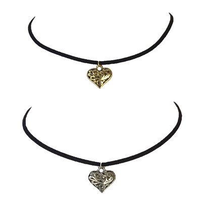 Zad Jewelry Black Suede Filigree Heart Chocker Necklace