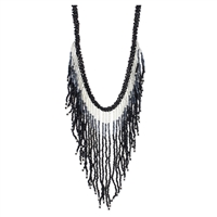 Zad Jewelry 'Isi' Ombre Fringe Beaded Bib Necklace