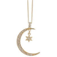 Zad Jewelry Pave Celestial Moon & Star Pendant Necklace