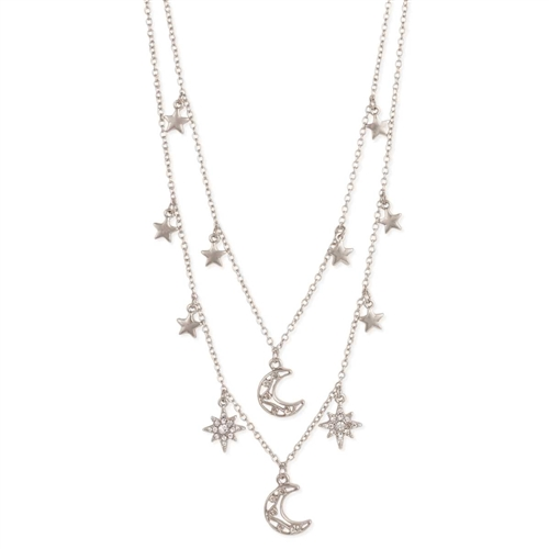 Pave Star Drops Celestial Star & Moon Charm Necklace