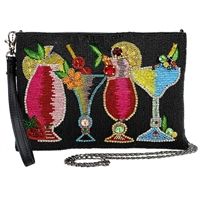 Mary Frances Drinks On Me Beaded Convertible Crossbody Clutch