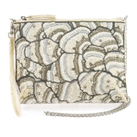Mary Frances Crystal White On 3 Way Convertible Clutch