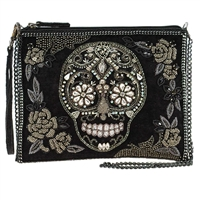 Mary Frances Crystal Skull Rose Velvet 3 Way Convertible Crossbody Clutch