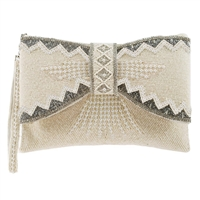 Mary Frances Bowed Over Bow Beaded Convertible Clutch Bridal Bag