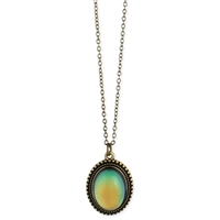 Zad Jewelry Burnished Gold Oval Mood Pendant Necklace