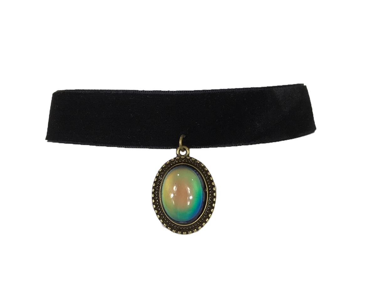 Zad jewelry velvet choker with mood stone pendant black aloadofball Gallery