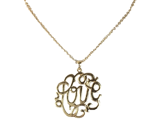 Zad Jewelry Love Monogram Pendant Necklace